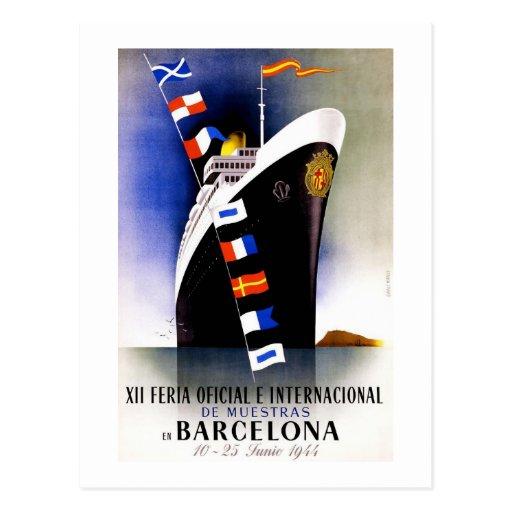 """Barcelona"" Vintage Trade Fair Poster Postcard"