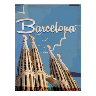 Barcelona Vintage Travel poster Postcard