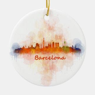 Barcelona watercolor Skyline v04 Ceramic Ornament