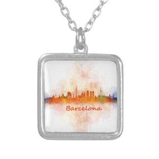 Barcelona watercolor Skyline v04 Silver Plated Necklace