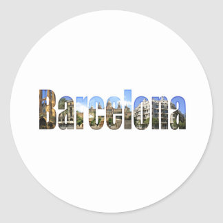 Barcelona with tourist attractions in letters classic round sticker