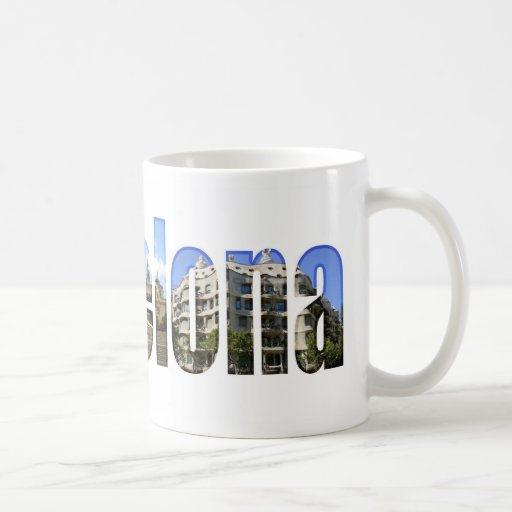 Barcelona with tourist attractions in letters mugs