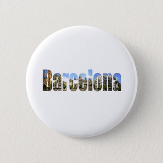 Barcelona with tourist attractions in letters pinback button