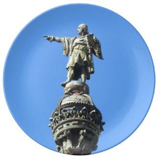 Barcelona's Columbus Monument Porcelain Plate