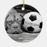 Barcelona's soccer fanatic dog. Barcelona, Spain Ceramic Ornament