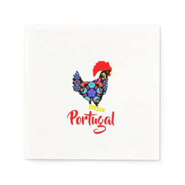 Beach Themed Barcelos Rooster Portuguese National Emblem Paper Napkin