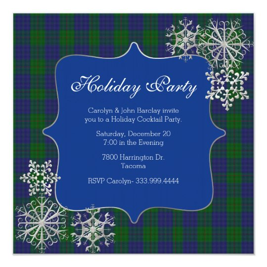 Barclay Clan Tartan Plaid Custom Christmas Party Invitation Zazzle Com