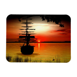Barco a la caída del sol imán