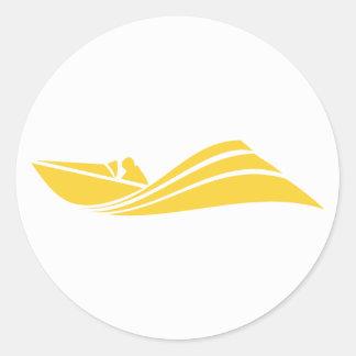 Barco ambarino amarillo de la velocidad pegatina redonda