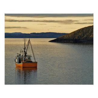 Barco anaranjado de la langosta, impresión de la f