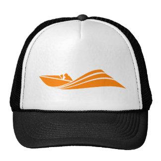 Barco anaranjado y blanco de la velocidad gorros bordados