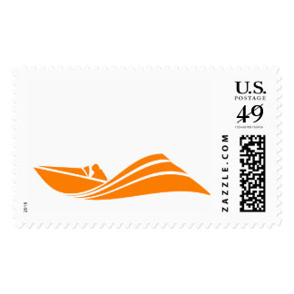 Barco anaranjado y blanco de la velocidad sello