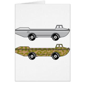Barco anfibio del camión en las ruedas tarjeta de felicitación