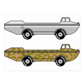 Barco anfibio del camión en las ruedas tarjetas postales