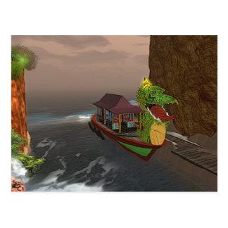 Barco asiático colorido con la postal del dragón v