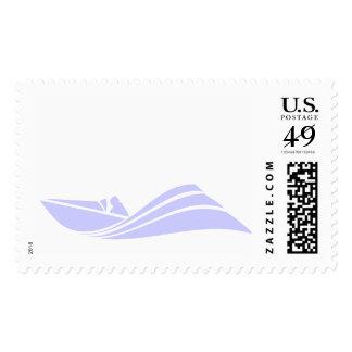 Barco azul de la velocidad de la lavanda sello