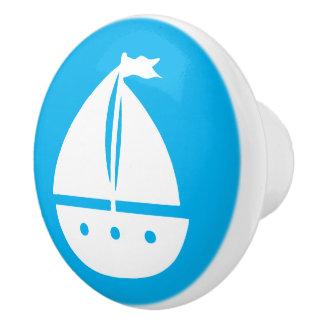 Barco azul y blanco A08 del color de encargo de Pomo De Cerámica