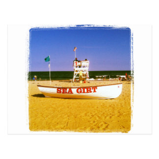 Barco ceñido mar del salvavidas tarjeta postal