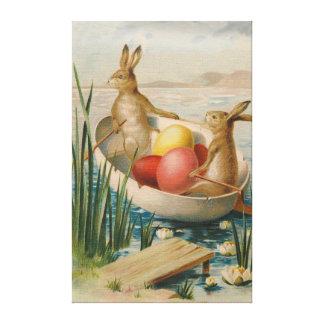Barco coloreado del huevo del conejo de conejito d impresión en lona