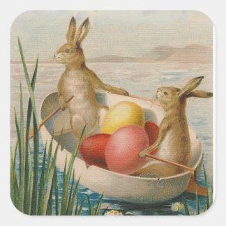 Barco coloreado del huevo del conejo de conejito pegatina cuadrada