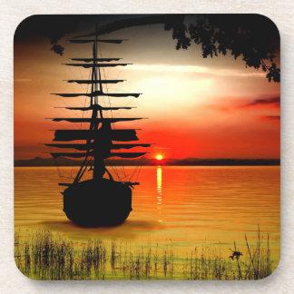 Barco con alba posavasos de corcho
