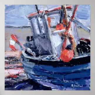 Barco con la boya roja póster
