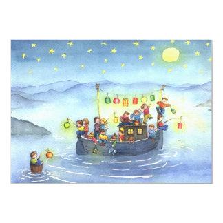 Barco con la invitación de la fiesta de cumpleaños