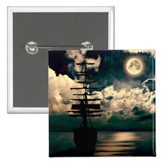 Barco con luna llena Button Pin Cuadrada 5 Cm
