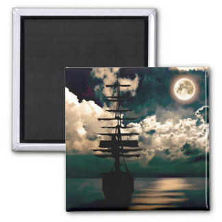 Barco con luna llena imán