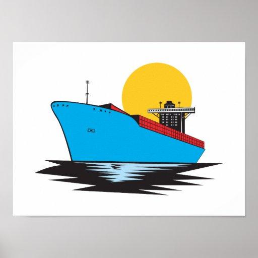Barco de carga de portacontenedores retro póster