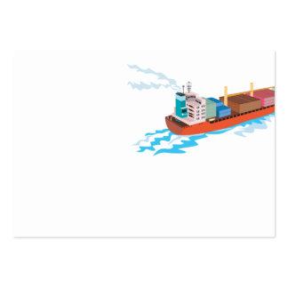 Barco de carga de portacontenedores retro tarjetas de visita grandes