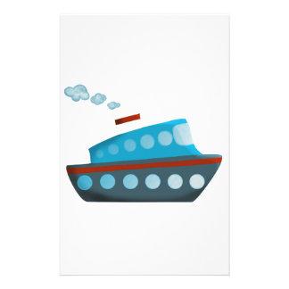 Barco de cruceros azul blanco rojo  papeleria de diseño