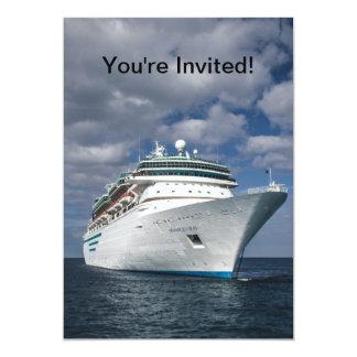 Barco de cruceros blanco grande invitación 12,7 x 17,8 cm