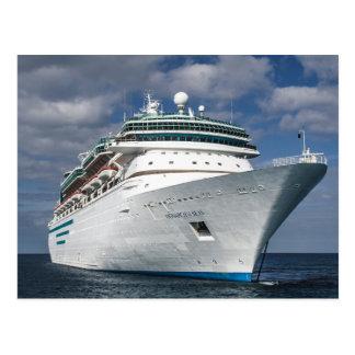 Barco de cruceros blanco grande postal