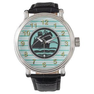 Barco de cruceros de Lt Blue White Striped Black Reloj