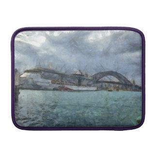 Barco de cruceros debajo del puente de puerto de funda macbook air