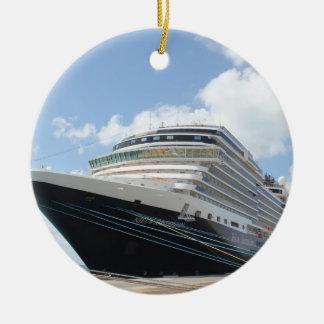 Barco de cruceros del ms Nieuw Amsterdam en Aruba Adorno Navideño Redondo De Cerámica