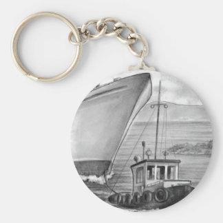 Barco de cruceros del remolque del barco del tirón llavero redondo tipo pin