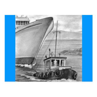Barco de cruceros del remolque del barco del tirón postales