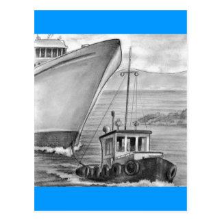 Barco de cruceros del remolque del barco del tirón tarjetas postales