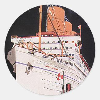 Barco de cruceros del transporte del viaje del pegatina redonda