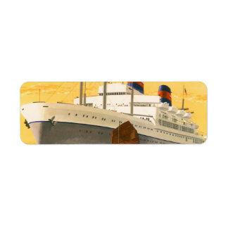 Barco de cruceros del vintage al Oriente con los b Etiquetas De Remite