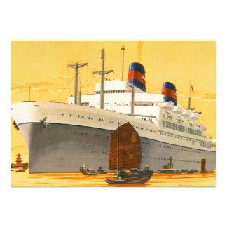 Barco de cruceros del vintage al Oriente con los b Anuncio Personalizado