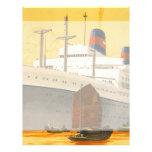 Barco de cruceros del vintage al Oriente con los Membretes Personalizados