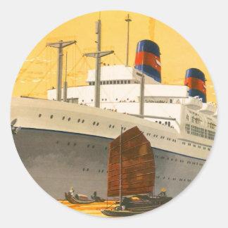 Barco de cruceros del vintage al Oriente con los Pegatinas Redondas