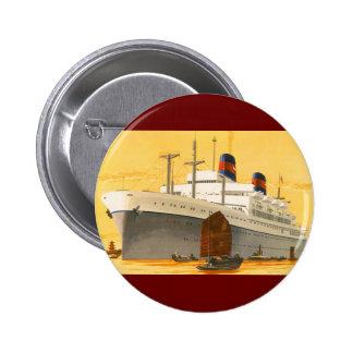 Barco de cruceros del vintage al Oriente con los Pin Redondo De 2 Pulgadas