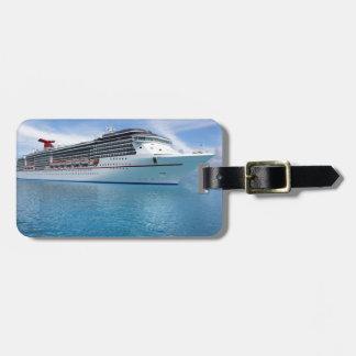 Barco de cruceros en aguas del Caribe Etiqueta De Equipaje
