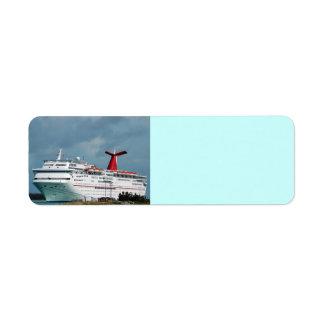 barco de cruceros etiqueta de remite
