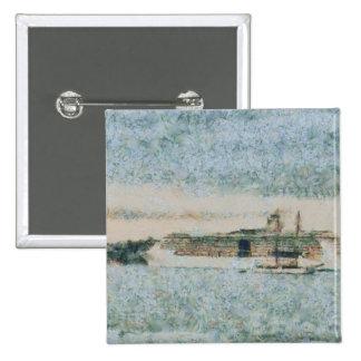 Barco de cruceros listo para el viaje pin cuadrada 5 cm