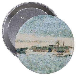 Barco de cruceros listo para el viaje pin redondo 10 cm
